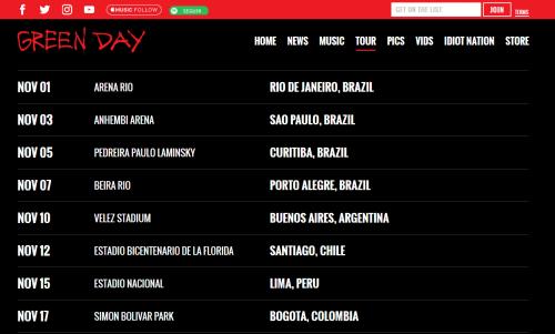 Imagem do site do Green Day